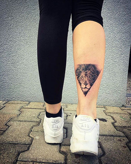 Lion Leo Triangle Tattoo