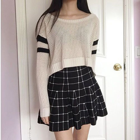 Fashion Korean Plaid Style