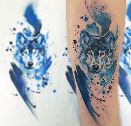 Watercolor Tattoo Wolf Tattoos