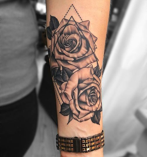 Rose Lower Arm Tattoos for Women-6