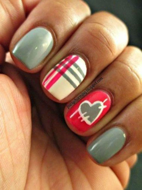 Cute Easy Heart Nail Designs-7