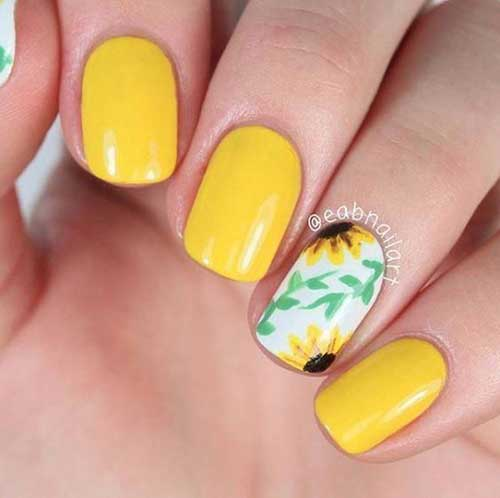 Cute Easy Sunflower Summer Nails-9