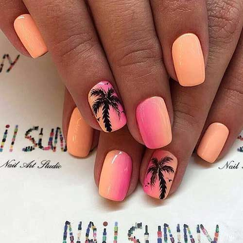 Coral Color Nail Designs