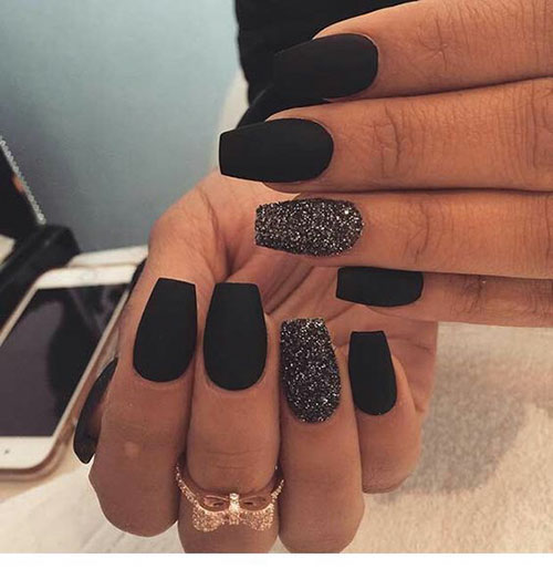 Black Coffin Matte Nails