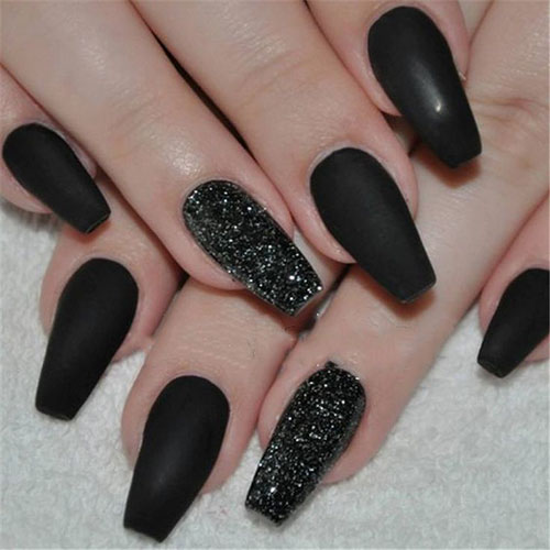 Coffin Matte Black Nails