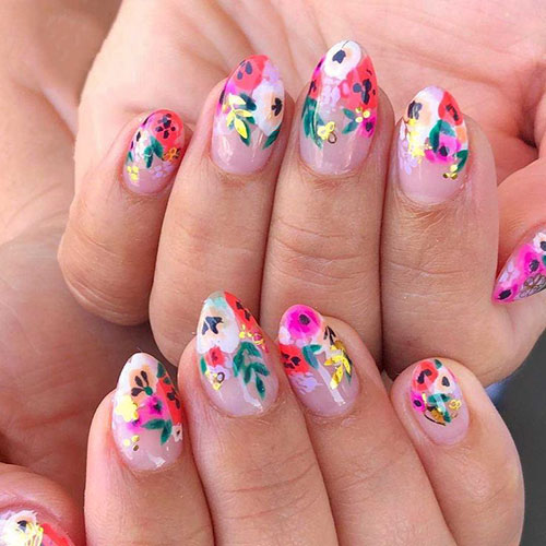 Tropical Flower Nail Art