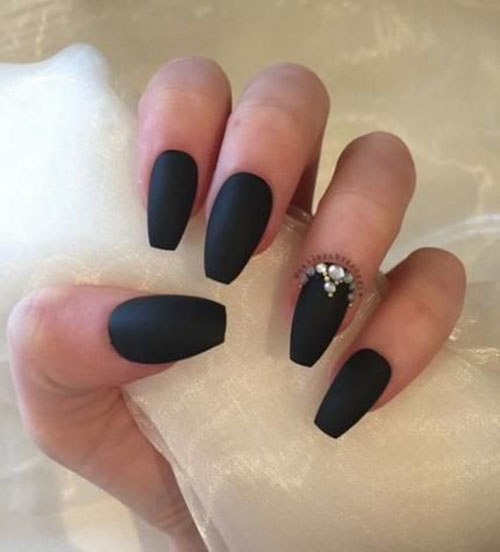 Black Matte Nails Coffin