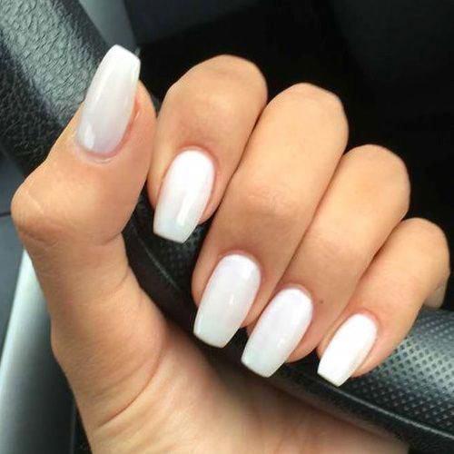 Nut White Acrylic Nails