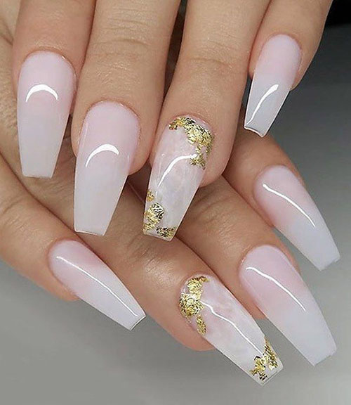 Squoval White Acrylic Nails