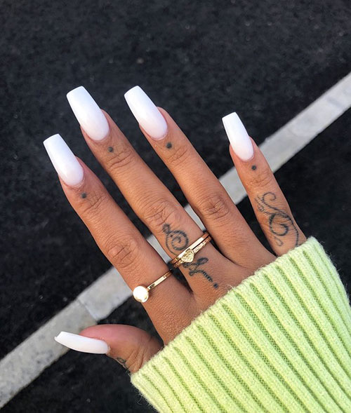 White Glossy Acrylic Nails