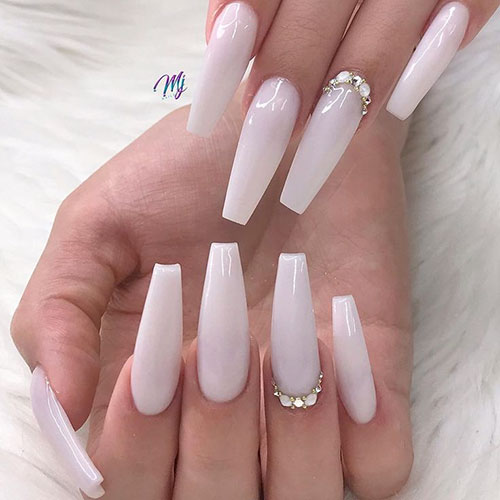 Milky White Acrylic Nails