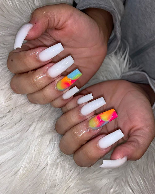 Creamy White Acrylic Nails