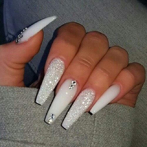 White Rounded Acrylic Nails