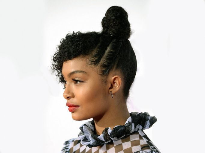 Curly hairstyle with bun